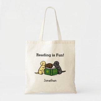 Labrador Puppies Reading Cartoon Tote Bags