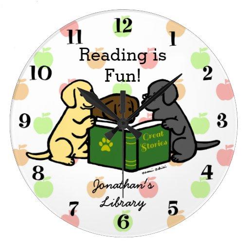 Labrador Puppies Reading Cartoon Large Clock
