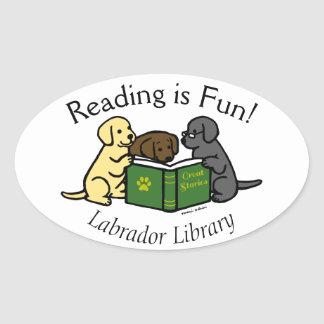 Labrador Puppies Reading Cartoon Oval Sticker