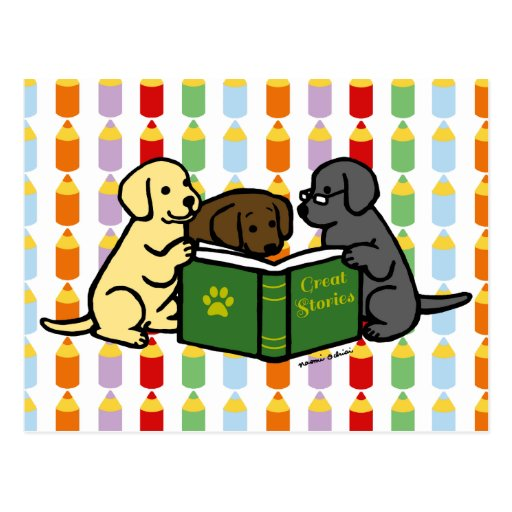 Labrador Puppies Reading Cartoon Postcard