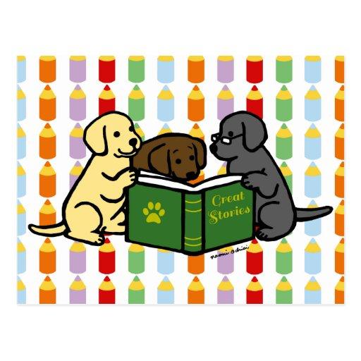 Labrador Puppies Reading Cartoon Postcard