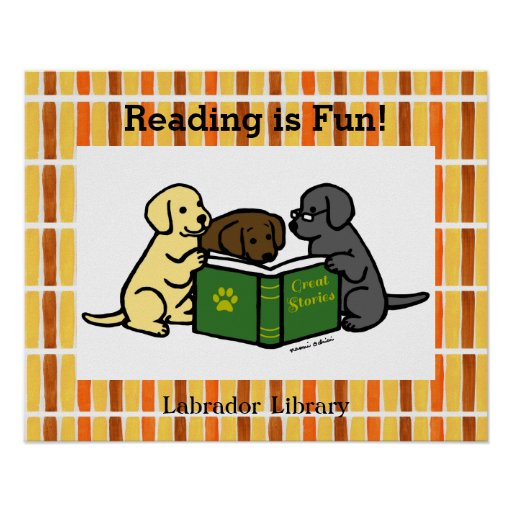 Labrador Puppies Reading Cartoon Poster