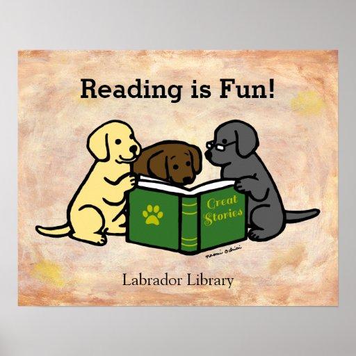 Labrador Puppies Reading Cartoon Poster