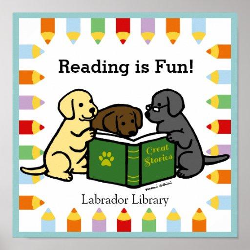 Labrador Puppies Reading Cartoon Posters