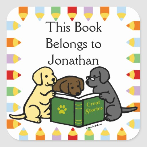 Labrador Puppies Reading Cartoon Square Sticker