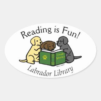 Labrador Puppies Reading Cartoon Oval Stickers