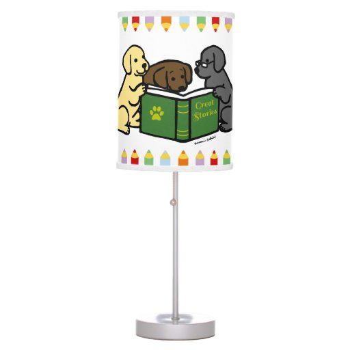 Labrador Puppies Reading Cartoon Table Lamp
