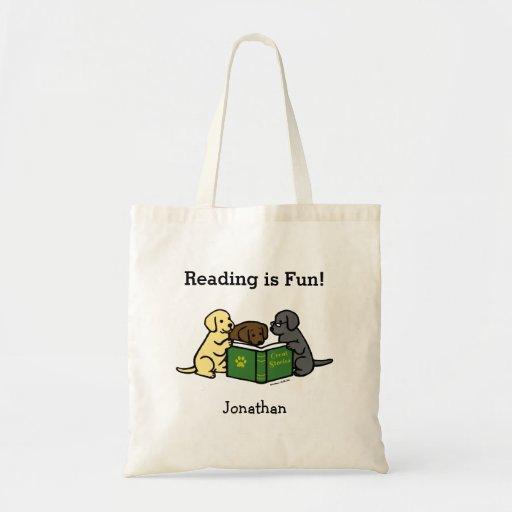 Labrador Puppies Reading Cartoon Tote Bag