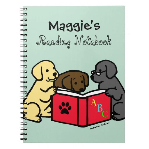 Labrador Puppies Reading Notebook