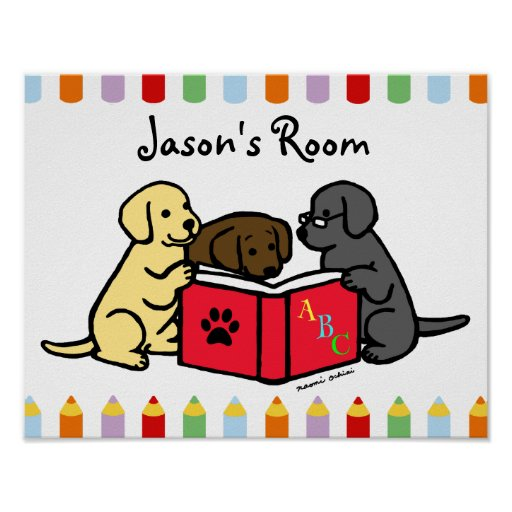 Labrador Puppies Reading Nursery Poster