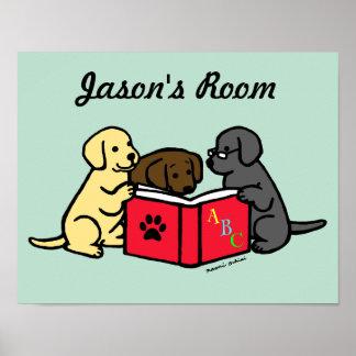 Labrador Puppies Reading Nursery Poster