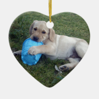 Labrador_Puppy,_ Double-Sided Heart Ceramic Christmas Ornament