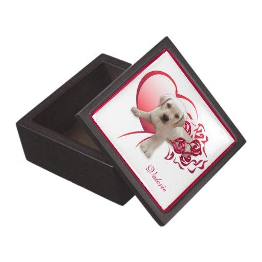 Labrador Puppy Heart Roses Premium Trinket Box