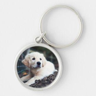 Labrador Puppy Playing In The Garden Keychain