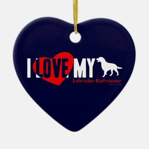 Labrador retriever adorno navideño de cerámica en forma de corazón