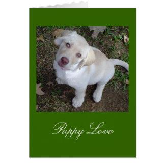Labrador retriever amarillo del amor adolescente tarjeta pequeña