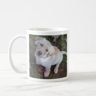 Labrador retriever amarillo del amor adolescente taza básica blanca