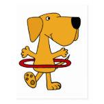 Labrador retriever amarillo divertido que juega el tarjeta postal