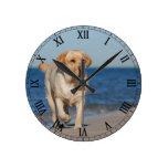 Labrador retriever amarillo en la playa reloj redondo mediano