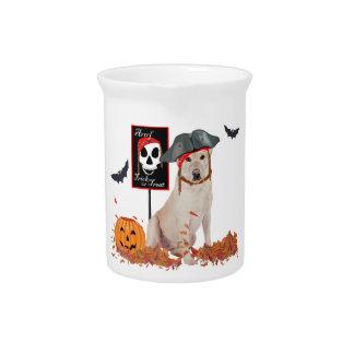 Labrador retriever amarillo Halloween Jarra Para Bebida