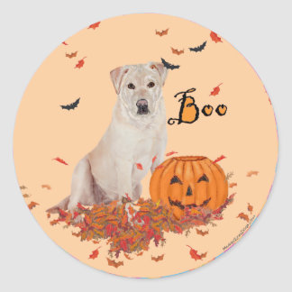 Labrador retriever amarillo Halloween Pegatina Redonda