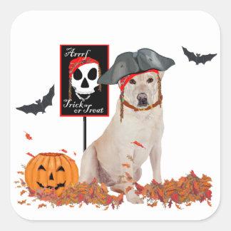 Labrador retriever amarillo Halloween Colcomanias Cuadradass