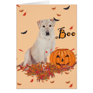 Labrador retriever amarillo Halloween Tarjetón