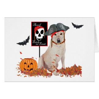 Labrador retriever amarillo Halloween Felicitacion