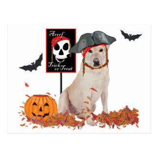 Labrador retriever amarillo Halloween Postales