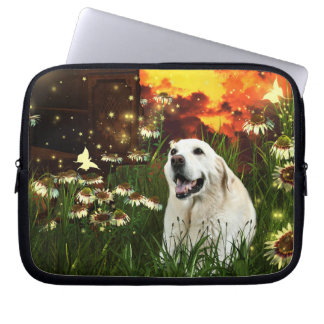 Labrador retriever amarillo manga portátil