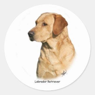 Labrador retriever amarillo pegatina redonda