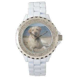 Labrador retriever amarillo reloj de mano