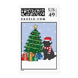 Labrador Retriever and Christmas Tree Postage Stamp