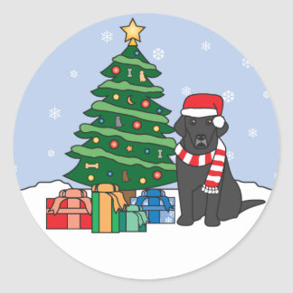 Labrador Retriever and Christmas Tree Round Stickers
