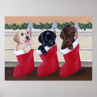 Labrador Retriever Art Print Christmas