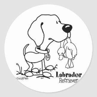 Labrador Retriever - B/W Classic Round Sticker