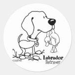 Labrador retriever - B/W Pegatina Redonda