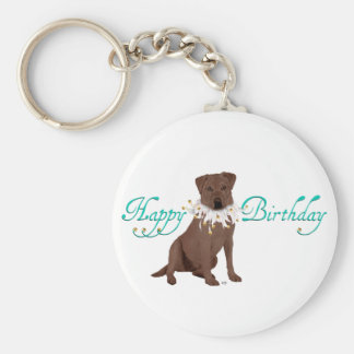 Labrador Retriever Birthday Greetings Basic Round Button Keychain