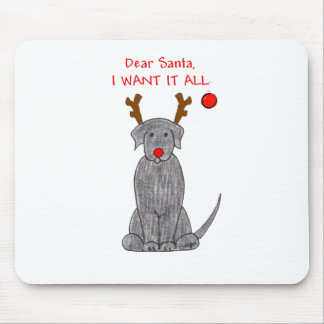 Labrador Retriever Black Dear Santa Mouse Pad