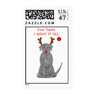 Labrador Retriever Black Dear Santa Postage