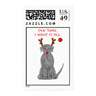 Labrador Retriever Black Dear Santa Postage
