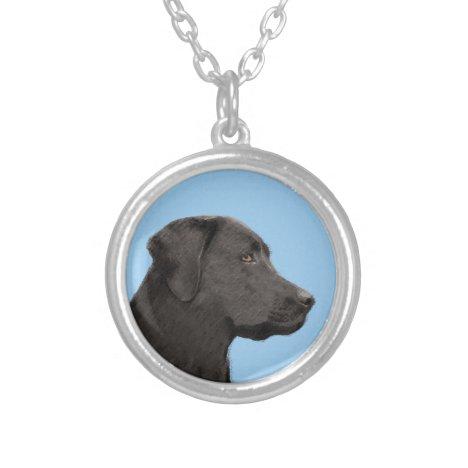 Labrador Retriever Black Painting Original Dog Art Silver Plated Necklace