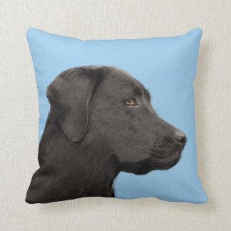 Labrador Retriever Black Painting Original Dog Art Throw Pillow