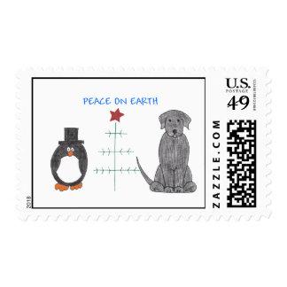 Labrador Retriever Black Peace On Earth Postage
