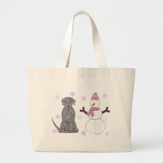 Labrador Retriever Black Snowman Tote Bags