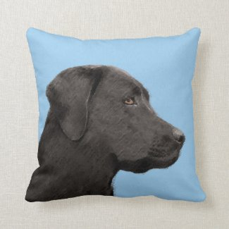 Labrador Retriever (Black) Throw Pillow