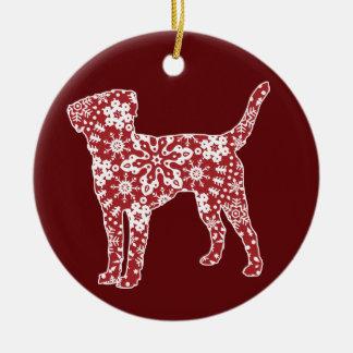 Labrador Retriever, Boho Christmas Snowflakes Ceramic Ornament