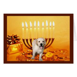 Labrador Retriever  Chanukah Card Menorah