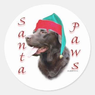 Labrador Retriever (choc) Santa Paws Classic Round Sticker