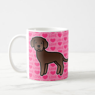 Labrador Retriever Chocolate Brown Love Hearts Coffee Mug